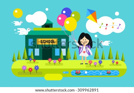 Back to school background. Cute vector cartoon happy girl playing near school building. School uniform, university building, preschool and education, small kids, teens, smile face, people silhouette - stock vector