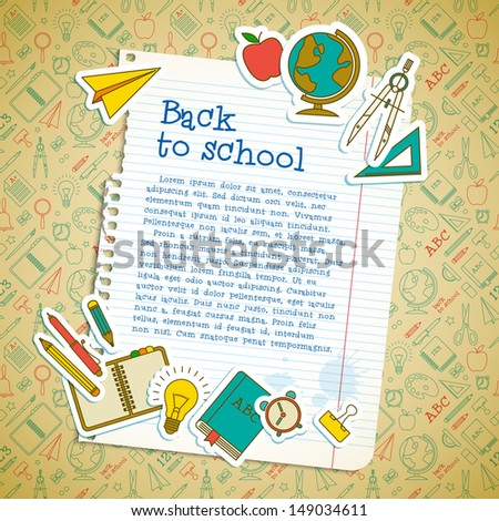 Back to school background. Vector Illustration, eps10, contains transparencies. - stock vector