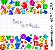 Back to school. Background with color alphabet. Vector - stock vector