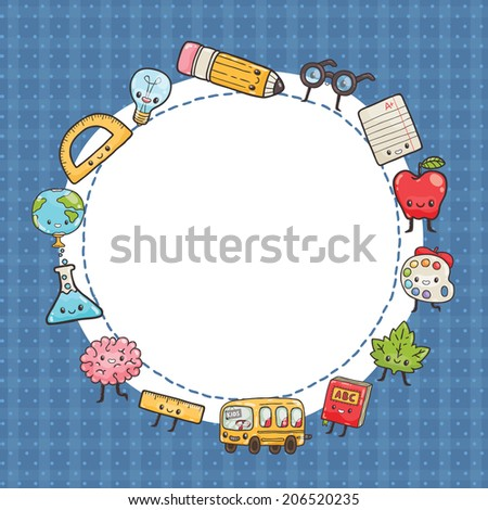 back to school - background with education icons and owl - stock vector
