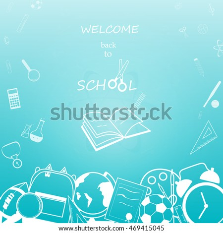 Welcome Back School Education Background Design Stock Vector