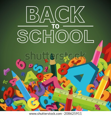 Back to school background with letters, numbers and colored pencils - stock vector