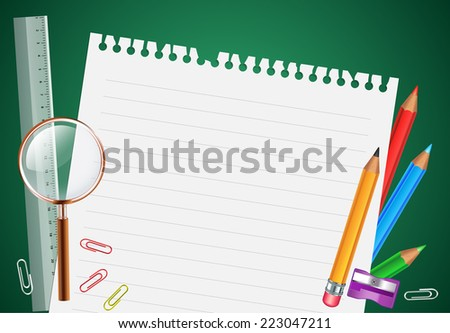 Back to School Background with School Items in a blank Paper