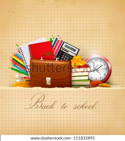 Back to school  Background with school supplies and old paper  Vector - stock vector