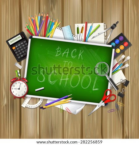 Back to school background with supplies tools and chalkboard on wood background. Place for your text. Chalky lettering. Layered realistic vector illustration.