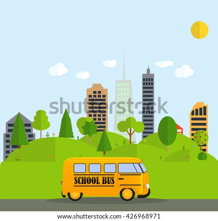 Back to School Background with Yellow Bus Vector Illustration EPS10 - stock vector