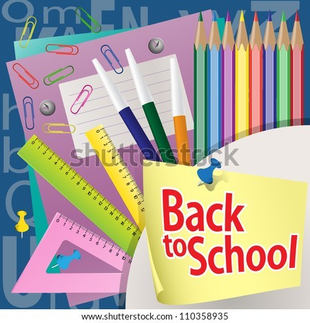 Back to school background. Writing-books, buttons, paper clips, pencils, rulers. Grouped for easy editing. - stock vector