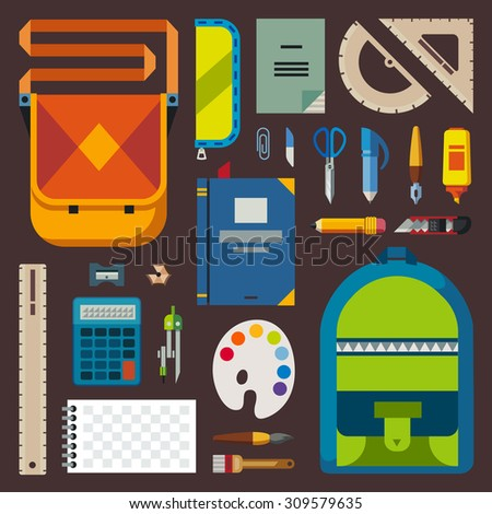 Back to school. Bag pupil or student. Training accessories: pencils, pens, notebooks, ruler, stationery, textbooks. Vector flat illustration - stock vector
