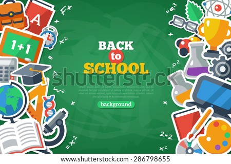Back To School Banner With Flat Icon Set on Chalkboard Textured Backdrop. Vector Flat Illustration. Arts and Science Stickers. Education Concept. - stock vector