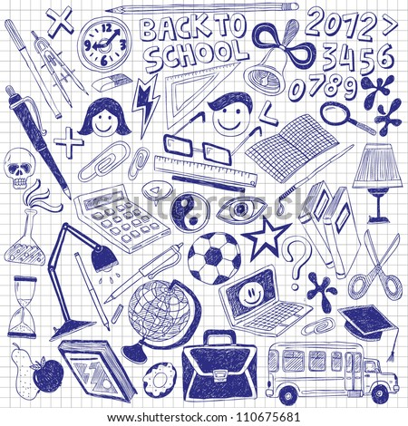 Back to school - big doodles set - stock vector