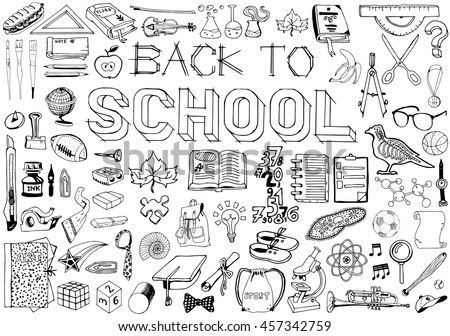 Back to School big doodles set. Hand drawn illustration on education them.