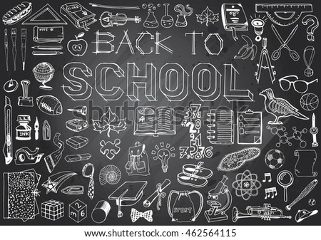 Back to School big doodles set. Illustration on education theme. Hand Drawn Elements in Gray Chalkboard Background.