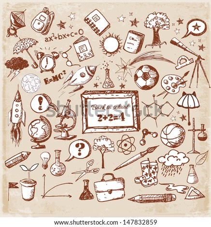 Back to school big doodles set in vintage style. Vector illustration.  - stock vector