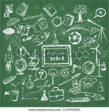Back to school big doodles set on green chalkboard. Vector illustration.  - stock vector