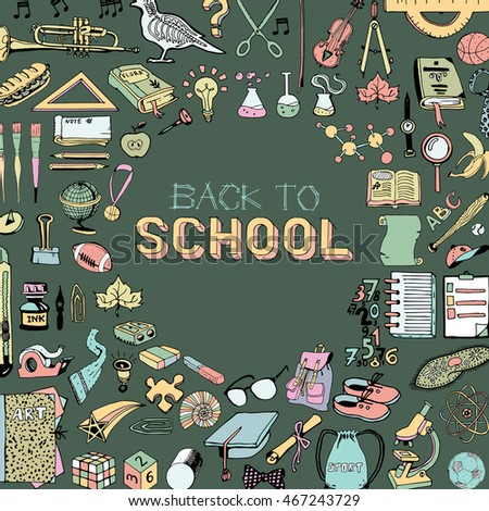 Back to School big doodles set with text. Hand Drawn illustration on education theme.