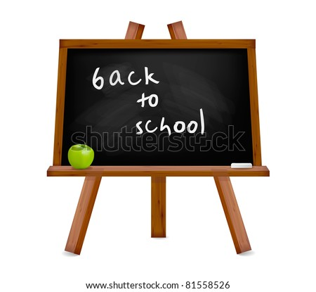 Back to school. Blackboard with easel with text. Vector illustration. - stock vector