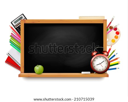 Back to school. Blackboard with school supplies. Vector.  - stock vector