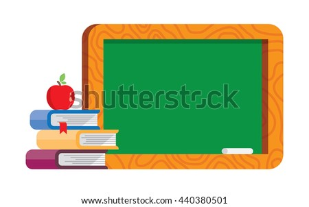 Back to school. Blank blackboard with books and apple. Vector. - stock vector