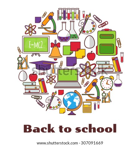 Back to school. Blue background with school supplies.  - stock vector