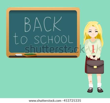 Back to school board cheerful school girl satchel first September Cartoon Design Vector Illustration - stock vector