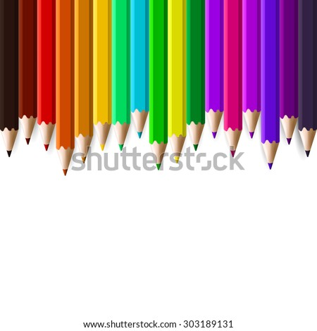Back to school border of multicolored pencils isolated on white background, vector illustration rainbow bunner of pencils - stock vector