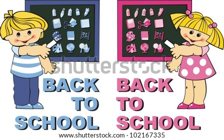 Back to school. Boy and girl in school boards - stock vector