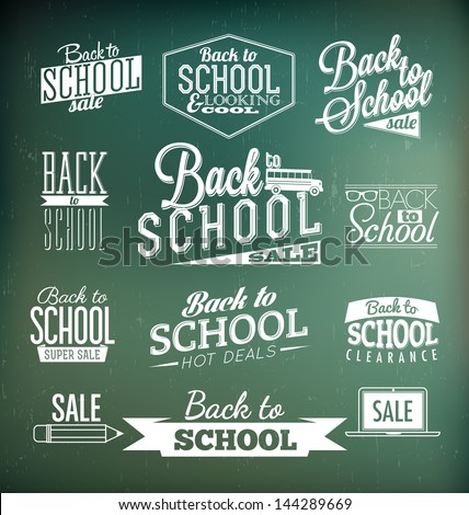 Back to School Calligraphic Designs | Retro Style Elements | Vintage Ornaments | Sale, Clearance | Vector Set - stock vector