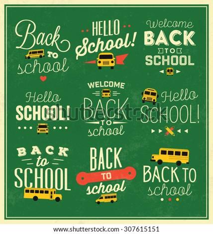 Back to School Calligraphic Designs / Vector Elements - stock vector