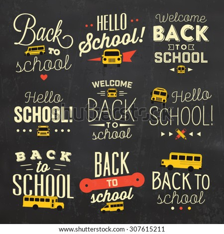 Back to School Calligraphic Designs / Vector Elements - stock vector