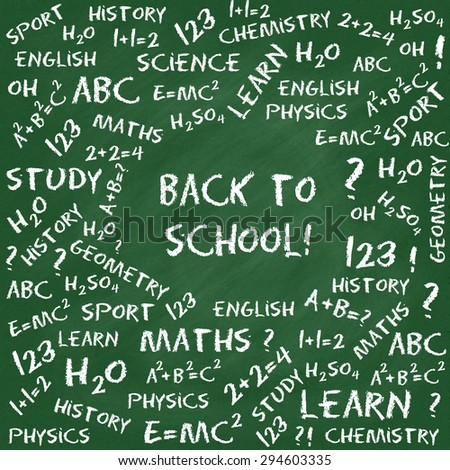 Back to school card. Hand drawn equations and text on green chalkboard - stock vector