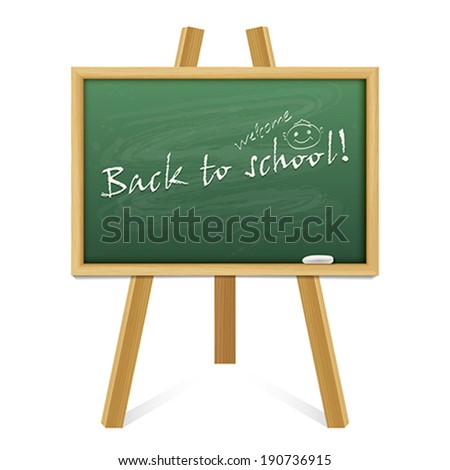 Back to school card or background. Chalk green board in a wood frame on white background.    Vector illustration.  - stock vector