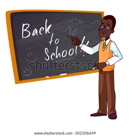 Back to school. Cartoon African American teacher stands near the school board. Vector illustration on a white background. - stock vector