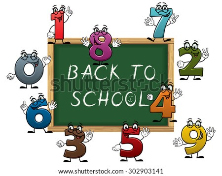 Back to school chalk text on green blackboard surrounded by cartoon colorful number characters with funny faces, for education design - stock vector