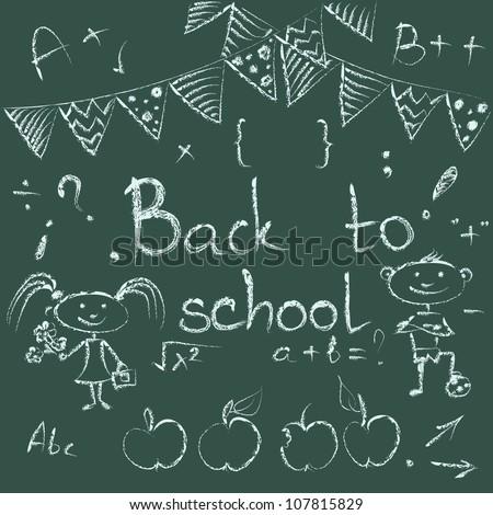 Back to school chalkboard sketch. Set of school doodle vector illustrations on blackboard. - stock vector