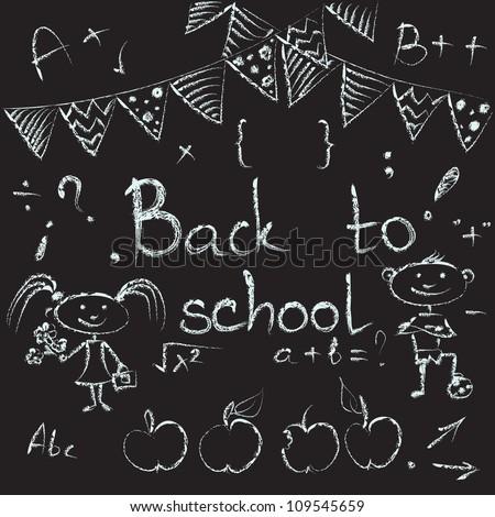 Back to school chalkboard sketch. Set of school doodle. Vector illustrations on the blackboard. - stock vector