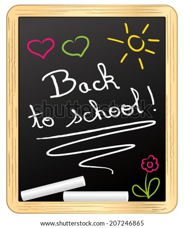 Back to school ! chalked on school slate. Vector illustration. - stock vector