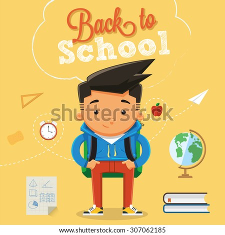 Back to school character design with elements and accessories 2 - stock vector