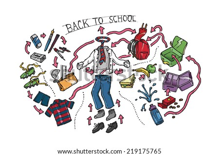 Back to School clothes, equipment and supplies laid out in exploded view. Hand drawn color isolated vector sketch on white background. - stock vector