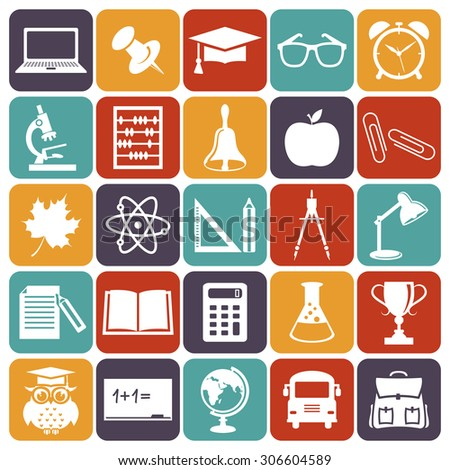 Back to school. Collection of education and science icons. White symbols on colorful plates. Vector illustration.