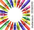 Back to school colored crayons background - stock vector