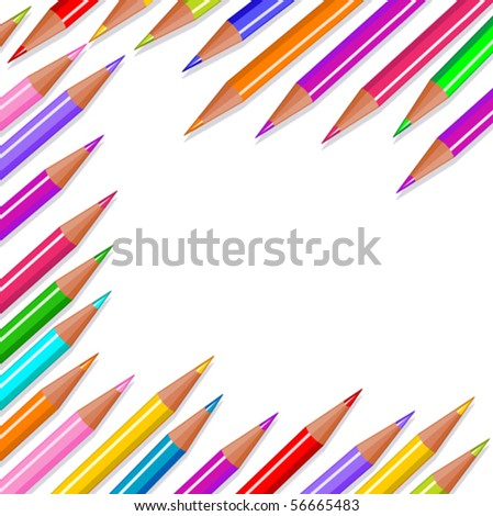 Back to school colored pencils background - stock vector