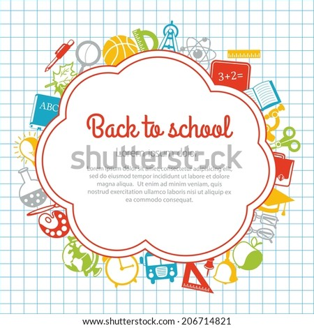 Back to school colorful background with space for text - stock vector