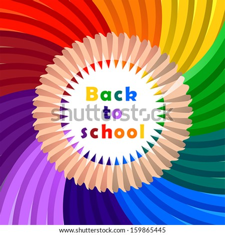 Back to school, colorful pencil, background, vector - stock vector