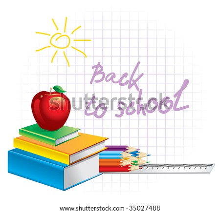 Back to school, composition of the student subjects - stock vector