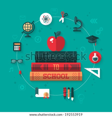 Back to school concept with apple and books flat icons. Vector illustration - stock vector