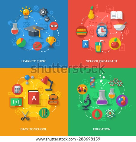 Back To School Concept With Flat Icons. Vector Flat Illustration. Arts and Science Stickers. Back to school, Learn to Think, School Breakfast, Education Concept. - stock vector