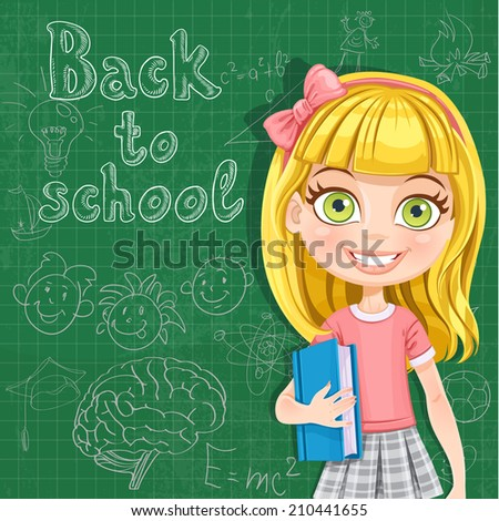 Back to school - cute blond girl at the blackboard - stock vector