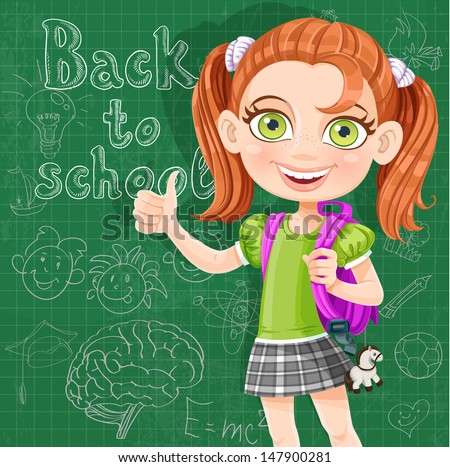 Back to school - cute girl at the blackboard - stock vector
