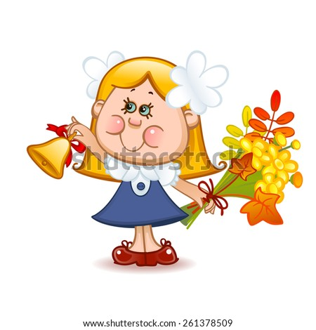Back to school. Cute schoolchild with school bell. Vector illustration 