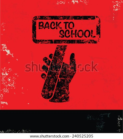 Back to school design on red background,grunge vector - stock vector